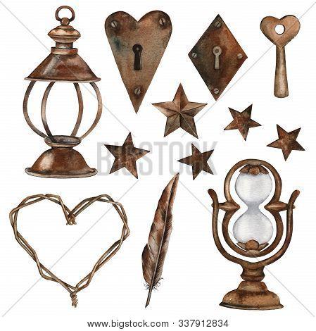 Set Of Vintage Rusty Metal Bronze Elements. Stars, Lantern, Hourglass, Kerosene Lamp, Key, Keyhole,