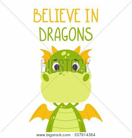 Cute Cartoon Dragon. Toothy Smiling Green Funny Dinosaur With Yellow Wings. Scandinavian Style. Beli