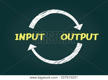 Hand Drawing Input And Output Image,vector Illistration