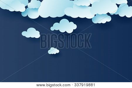 3d Illustration Of Light Blue Sky White Clouds Pattern Vector.creative Design Simple With Cloudscape