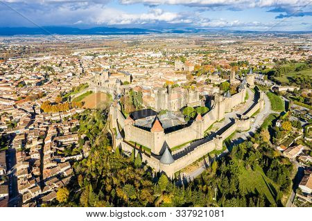 Aerial View Of Cite De Carcassonne, A Medieval Hill-top Citadel In The French City Of Carcassonne, A
