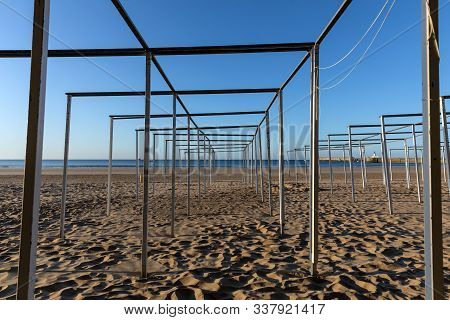 Wooden Structure For The Tents Of Les Sables D Olonne Beach (vendee, France)