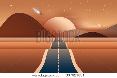 3d Illustration Of  Landscape With Road To Mountains Across A Dry Desert.light Starfall At Evening T