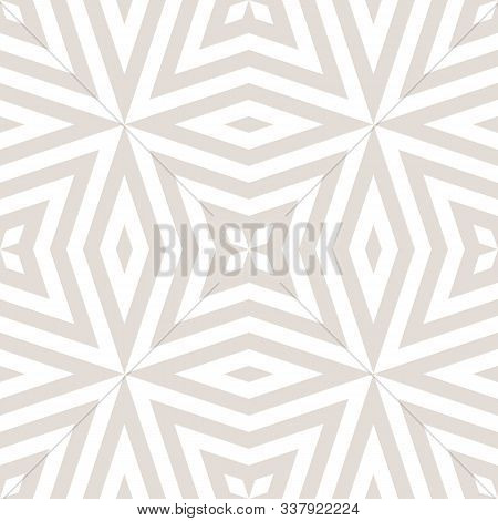Vector Geometric Lines Seamless Pattern. Abstract White And Beige Ornament With Stripes, Floral Shap