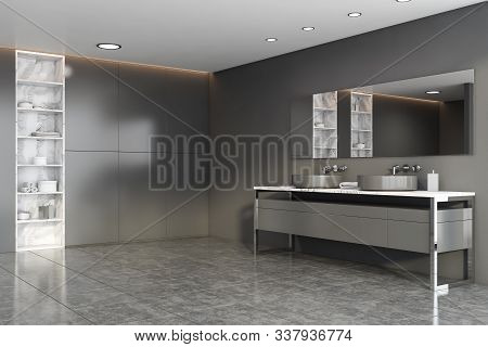 Grey And Marble Bathroom Corner With Double Sink