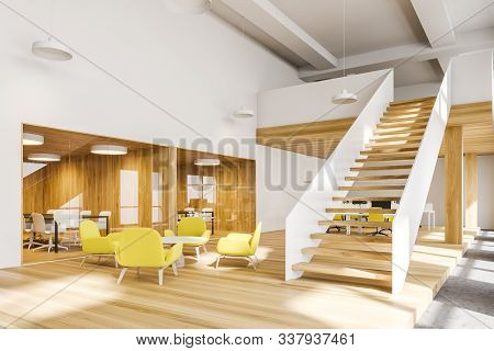 Corner Of Bright Two Storey Office With White And Wooden Walls, Comfortable Waiting Room With Yellow