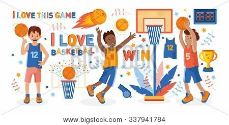Sports Set On The Theme Of Basketball. Athletes And Various Attributes For Basketball In Flat Vector