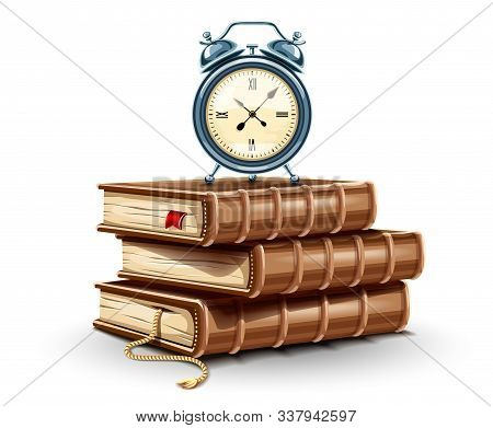 Classic Alarm Clock On The Stack Pile Of Paper Books. Education Time Concept Icon. Time For Study Bo