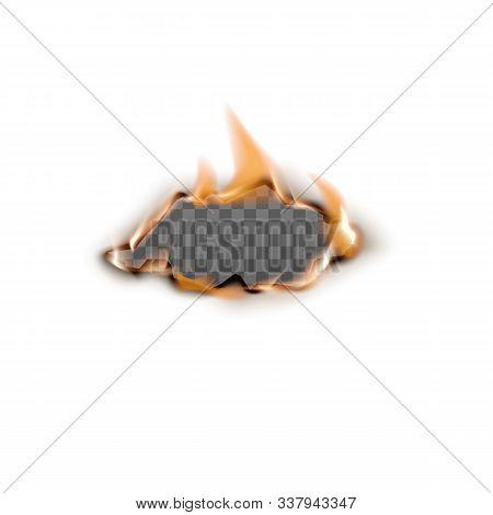Burning Hole Edge On Paper Sheet Realistic Vector Mockup Illustration Isolated.