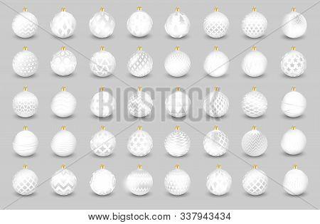 Set Of Decorative White Christmas Balls Isolated On White Background, Illustration.