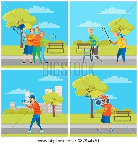 Old People Having Fun In City Park Vector, Elderly Friends Taking Selfie On Smartphone Holding Phone