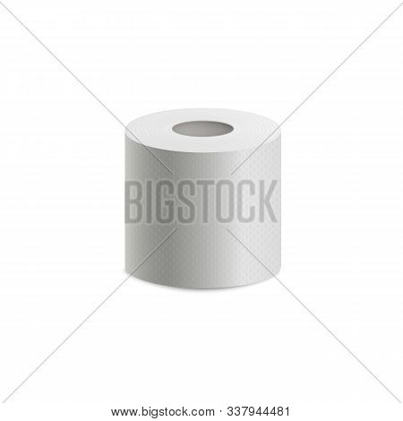 Toilet Or Lavatory Paper Roll Icon Realistic Vector Mockup Illustration Isolated.