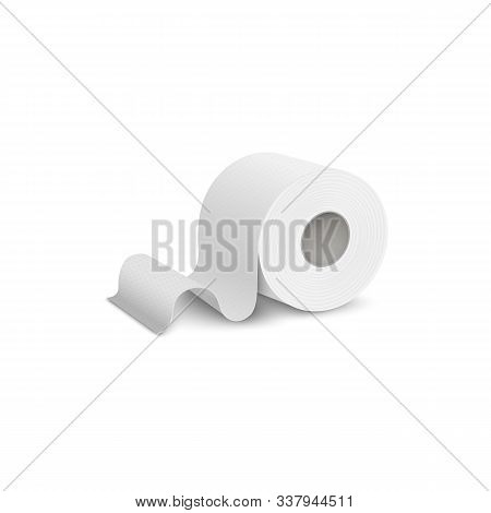 Single Roll Of Toilet Or Lavatory Paper Realistic Vector Illustration Isolated.