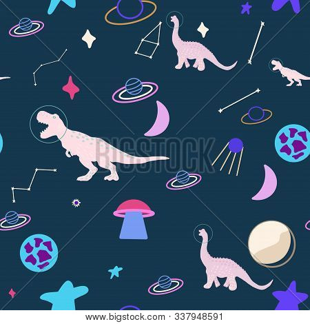 Space Dino Girl Seamless Pattern On Blue. Wild Galaxy Monster Endless Design. Joyous Reptile Astrona