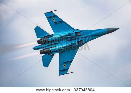 Fairford / United Kingdom - July 13, 2018: Ukrainian Air Force Sukhoi Su-27p Flanker 58 Fighter Jet