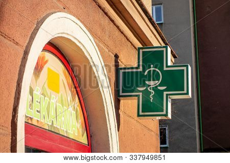 Havirov, Czech Republic - December 6, 2019: The Typical Green Sign For Pharmacies, Drugstores And He