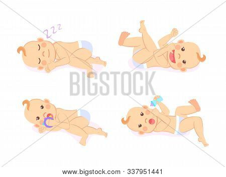 Baby Set Vector, Isolated Kid Wearing Diaper Playing With Bottle Flat Style. Child Smiling And Sucki