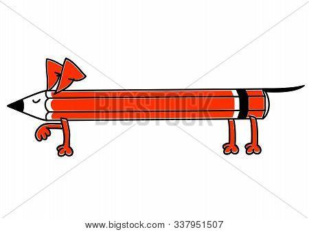 Pencil Dachshund Makes A Stand. Dachshund Long Dog.