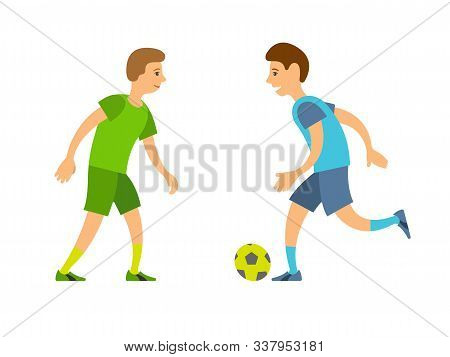 Football Players Vector, Playing People Running And Chasing Ball Isolated Competitors. Team With Inf