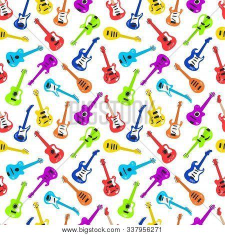 Guitar Collection. Electric Guitar, Bass Guitar, Classical Guitar. Vector Seamless Pattern In Flat A