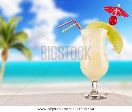 Cocktail drink on beach