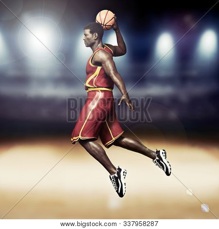 Basketball Player Going In For A Slam Dunk With Stadium Background. 3d Rendering