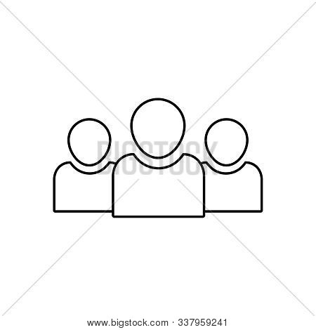 Team People Vector Line Icon. Squad Of People Outline Icon. Community Business Concept. Social Unity