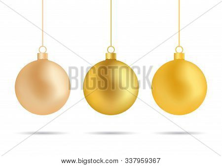 Christmas Golden Ball, Tree Toy Ornament Decoration. Christmas Bauble Isolated On White Background.