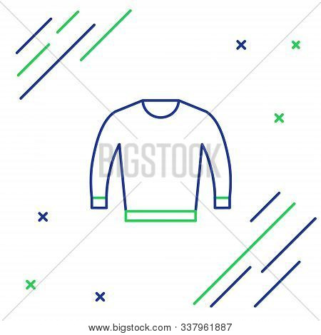 Blue And Green Line Sweater Icon Isolated On White Background. Pullover Icon. Colorful Outline Conce