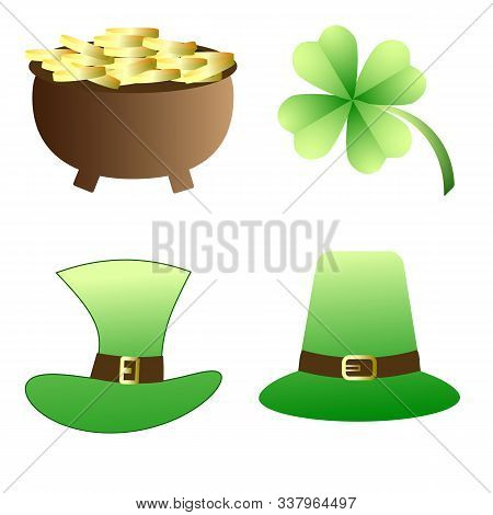 Shamrock ,hat Of Leprechaun And A Bowler With Golden Coins.