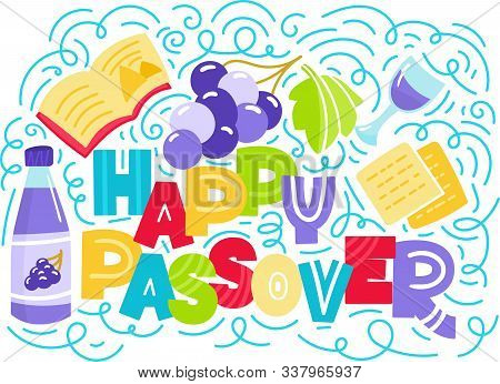 Passover Greeting Card Jewish Holiday Pesach . Hebrew Text: Happy Passover. Doodle Style Vector Illu