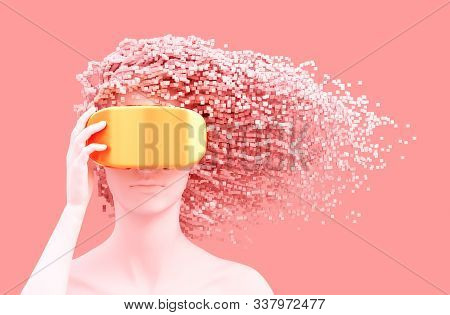 Beautiful Woman Wearing Gold Vr Glasses And 3d Pixels As Hair On Pink Background. Virtual Reality Co