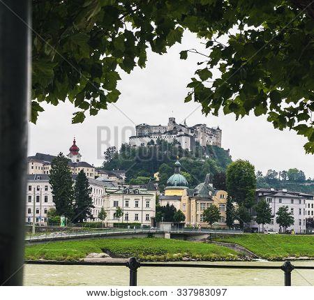 Salzburg, Austria - August 23, 2019: Beautiful View Of Salzburg Skyline With Festung Hohensalzburg A