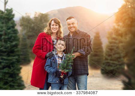 Mixed Race Family Outdoors At Christmas Tree Farm.