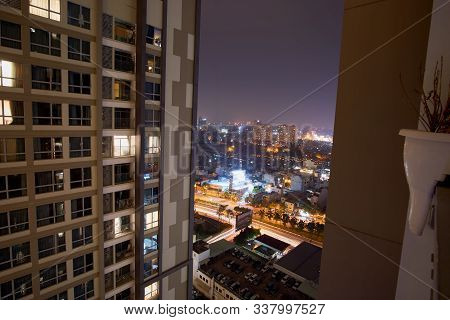 Ho Chi Minh City, Vietnam - November 15, 2019. Cityscape Of Ho Chi Minh City. Long Exposure At Night