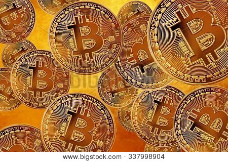 Flying Bitcoin As Most Important Cryptocurrency Concept. Crypto Currency Gold Bitcoin, Btc, Bit Coin