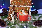 The hand-made eatable gingerbread house, marshmallow snowman, snow decoration, garland snow and background illumination poster