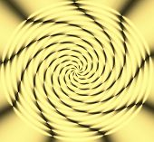 Abstract circular yellow wheel of light with black curved flowing lines radiating out from the center. poster