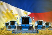 many blue farming combine harvesters on wheat field with Philippines flag background - front view, stop starving concept - industrial 3D illustration poster