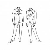 Bright poster manikin men classic styles suit. Official festive style clothing, buttoned top buttons jacket, bow-tie, tuxedo depicts fashion accessory. Sketch art style black pencil. poster