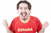 happy spanish man supporter, isolated on white poster