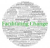 Facilitating Change concept in word tag cloud on white background poster