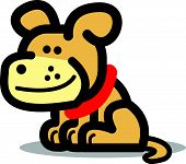 Cute, happy cartoon dog wearing a smile and a red collar. poster