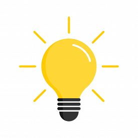 Light Bulb Icon. Light Bulb Vector Icon. Idea Icon. Lamp Concept. Light Bulb, Isolated On White Back