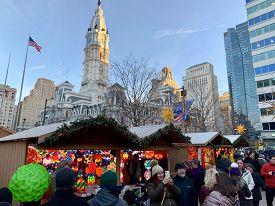 Philadelphia, Pennsylvania - November 29, 2019: Philadelphia Christmas Market. Holiday Shoppers Brow