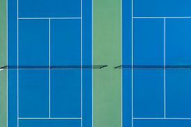 Aerial view of tennis courts at a suburban high school near Chicago, Il.