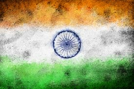 Grunge Old India Flag As A Background