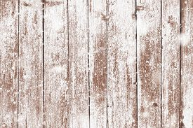 Grunge Wood Planks With Snow Flakes Falling On. Christmas Background