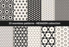 Hexagon Pattern Collection. Vector Geometric Seamless Textures With Hex Shapes, Honeycombs, Hexagona