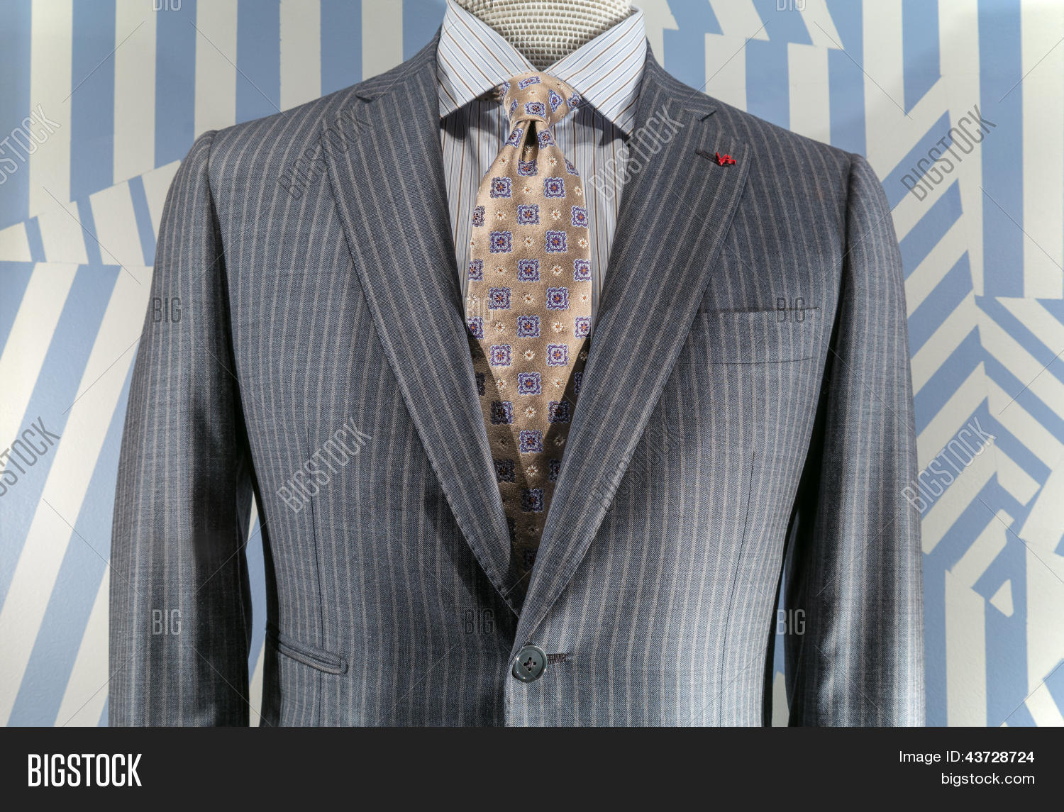 Light gray striped jacket blue image photo bigstock for Blue striped shirt with tie